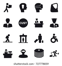 16 vector icon set : courier, bulb head, virtual mask, tourist, detector, passenger, invalid, reception, vacuum cleaner