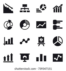 16 vector icon set : crisis, hierarchy, diagram, circle diagram, statistic, graph, presentation, graph up