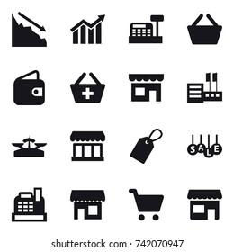 16 vector icon set : crisis, diagram, cashbox, basket, wallet, add to basket, shop, store, scales, market, label, sale