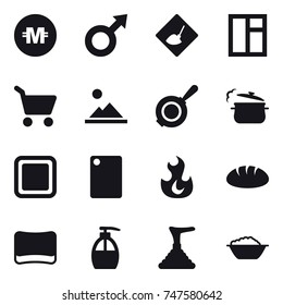 16 vector icon set : crypto currency, under construction, window, cart, landscape, pan, steam pan, cutting board, bread, sponge, liquid soap, plunger, foam basin