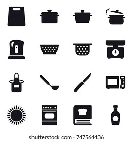 16 vector icon set : cutting board, pan, steam pan, kettle, colander, colander, kitchen scales, apron, ladle, knife