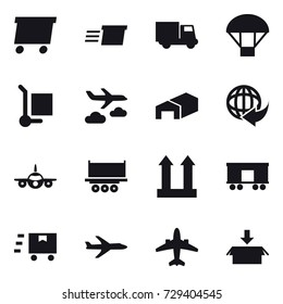 16 vector icon set : delivery, truck, parachute, cargo stoller, journey, warehouse, plane, airplane, package