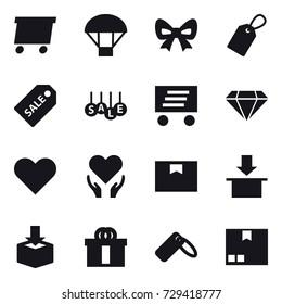 16 vector icon set : delivery, parachute, bow, label, sale label, sale, diamond, package