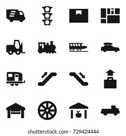 16 vector icon set : delivery, train, car baggage, trailer, escalator, baggage, garage, wheel, warehouse, pickup