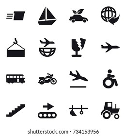 16 vector icon set : delivery, boat, eco car, plane, bus, motorcycle, arrival, invalid, stairs, plow, tractor