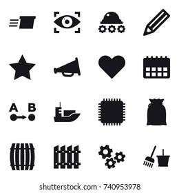 16 vector icon set : delivery, eye identity, lunar rover, pencil, star, loudspeaker, barrel, fence, gears, bucket and broom