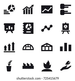 16 vector icon set : diagram, statistic, presentation, annual report, graph, graph up, greenhouse, seedling, sprouting, hand leaf