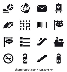 16 vector icon set : diagram, circle diagram, mail, presentation, up down arrow, chip, barcode, store signboard, shop signboard, list, escalator, reception, no smoking, do not distrub, stairs