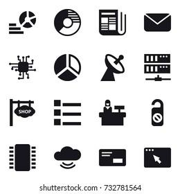 16 vector icon set : diagram, circle diagram, newspaper, mail, chip, satellite antenna, server, shop signboard, list, reception, do not distrub