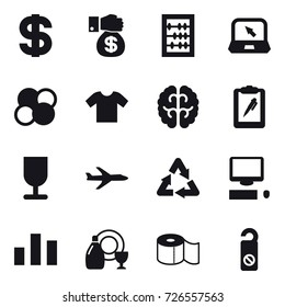 16 vector icon set : dollar, money gift, abacus, notebook, atom core, t-shirt, plane, dish cleanser, toilet paper, do not distrub