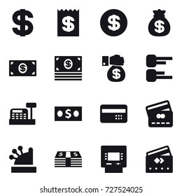 16 vector icon set : dollar, receipt, money bag, money, money gift, diagram, cashbox, credit card, atm