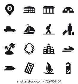 16 vector icon set : dollar pin, airport building, dome house, car baggage, sail boat, tourist, passenger, island, hawaiian wreath, hotel, jet ski, yacht, inflatable mattress, windsurfing
