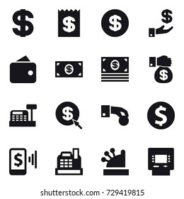 16 vector icon set : dollar, receipt, investment, wallet, money, money gift, cashbox, dollar arrow, hand coin, dollar coin, mobile pay, atm