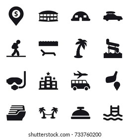 16 vector icon set : dollar pin, airport building, dome house, car baggage, tourist, lounger, palm, aquapark, diving mask, hotel, transfer, golf, cruise ship, palm hammock, service bell, pool