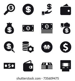 16 vector icon set : dollar magnifier, dollar, investment, wallet, money bag, money, money gift, dollar arrow, virtual mining, crypto currency, dollar coin, atm