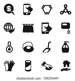16 vector icon set : dollar arrow, touch, hex molecule, spinner, curtain, soap, scoop, liquid soap, gloves, cleanser powder, wiping, housing