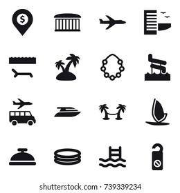 16 vector icon set : dollar pin, airport building, plane, hotel, lounger, island, hawaiian wreath, aquapark, transfer, yacht, palm hammock, windsurfing, service bell, inflatable pool, pool