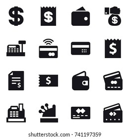 16 vector icon set : dollar, receipt, wallet, money gift, cashbox, tap to pay, credit card, account balance