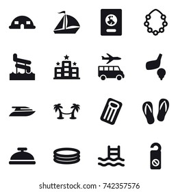 16 vector icon set : dome house, sail boat, passport, hawaiian wreath, aquapark, hotel, transfer, golf, yacht, palm hammock, inflatable mattress, flip-flops, service bell, inflatable pool, pool