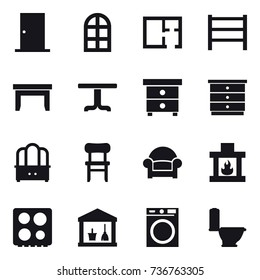 16 vector icon set : door, arch window, plan, table, nightstand, chest of drawers, dresser, chair, armchair, fireplace, utility room, washing machine, toilet