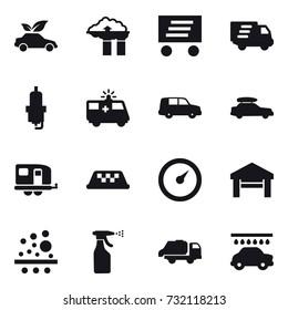 16 vector icon set : eco car, factory filter, delivery, spark plug, car baggage, trailer, taxi, barometer, garage, sprayer, trash truck, car wash
