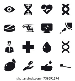 16 vector icon set : eye, dna, drop, hand leaf, hand drop, tooth brush