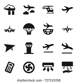 16 vector icon set : factory filter, journey, plane, deltaplane, airport tower, departure, arrival, inflatable mattress, cooler fan, air conditioning, hand dryer
