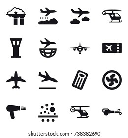 16 vector icon set : factory filter, weather management, journey, airport tower, plane, ticket, airplane, arrival, inflatable mattress, cooler fan, hair dryer, blower