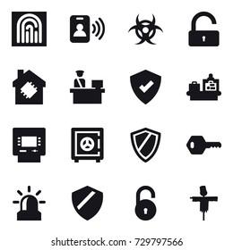 16 vector icon set : fingerprint, pass card, unlock, smart house, baggage checking, atm, safe, shield, key, alarm, scarecrow