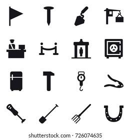 16 vector icon set : flag, nail, construction, vip fence, detector, safe, fridge, handle scales, walnut crack, shovel, fork, horseshoe