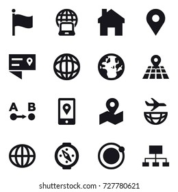 16 vector icon set : flag, notebook globe, home, globe, compass, hierarchy