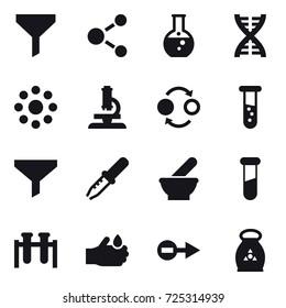 16 vector icon set : funnel, molecule, round flask, dna, round around, microscope, quantum bond, vial, fertilizer