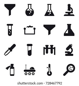 16 vector icon set : funnel, round flask, flask, microscope, vial, electrostatic, thermometer, viruses