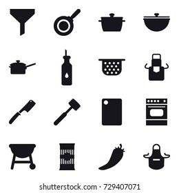 16 vector icon set : funnel, pan, cauldron, saute pan, colander, apron, chef knife, meat hammer, cutting board, hot pepper