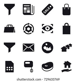 16 vector icon set : funnel, newspaper, sale, shopping bag, around gear, eye identity, mail, houses, housing