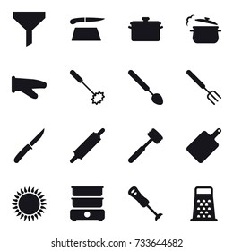 16 vector icon set : funnel, cutting board, pan, steam pan, cook glove, whisk, big spoon, big fork, knife, rolling pin, meat hammer