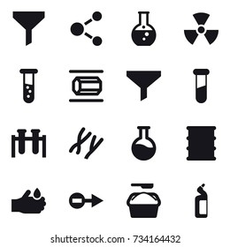 16 vector icon set : funnel, molecule, round flask, nuclear, vial, nanotube, washing powder, toilet cleanser