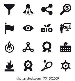 16 vector icon set : funnel, share, dollar magnifier, flag, eye, bio, presentation, rocket, spinner, medal, university, tennis, handwheel