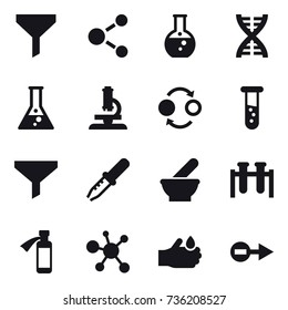 16 vector icon set : funnel, molecule, round flask, dna, flask, microscope, quantum bond, vial
