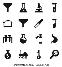 16 vector icon set : funnel, flask, microscope, vial, electrostatic, thermometer, viruses