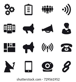 16 vector icon set : gear, clipboard, team, wireless, server, megafon, loudspeaker, phone