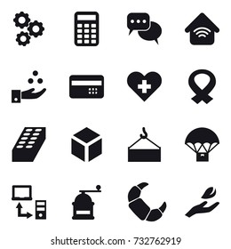 16 vector icon set : gear, calculator, discussion, wireless home, chamical industry, credit card, brick, 3d, hand mill, hand leaf