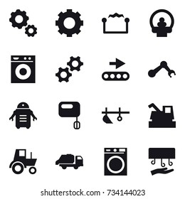 16 vector icon set : gear, electrostatic, washing machine, plow, harvester, tractor, trash truck, hand dryer