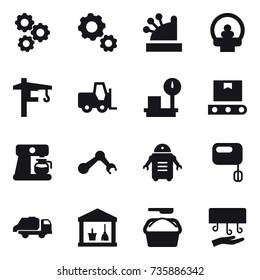16 vector icon set : gear, cashbox, tower crane, coffee maker, trash truck, utility room, washing powder, hand dryer