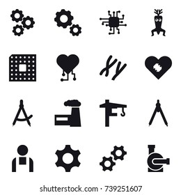 16 vector icon set : gear, chip, dna modify, cpu, cardio chip, draw compass, factory, tower crane, drawing compass, water pump