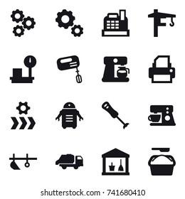 16 vector icon set : gear, cashbox, tower crane, mixer, coffee maker, plow, trash truck, utility room, washing powder