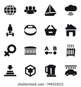 16 vector icon set : globe, group, boat, cloud wireless, hoverboard, smart bracelet, remove from basket, home, airport building, radiator, kettle, car wash