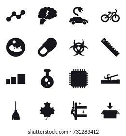 16 vector icon set : graph, brain, electric car, bike, ruler, soil cutter, broom, maple leaf, skyscrapers cleaning, package