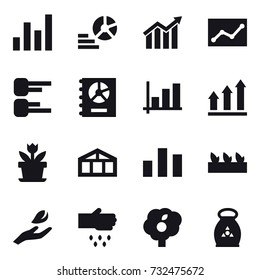 16 vector icon set : graph, diagram, statistic, annual report, graph up, flower, greenhouse, seedling, hand leaf, sow, garden, fertilizer