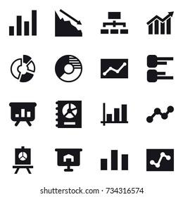 16 vector icon set : graph, crisis, hierarchy, diagram, circle diagram, statistic, presentation, annual report